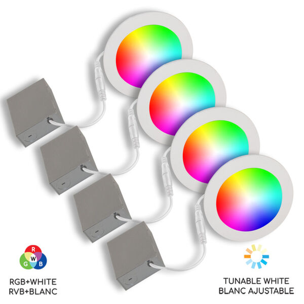 White Wi-Fi RGB LED Recessed Fixture Kit, Pack of 4, image 1
