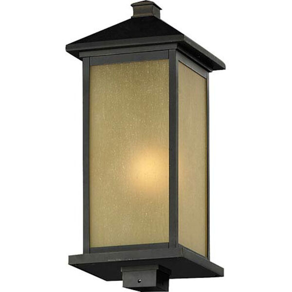Vienna One-Light Large Oil Rubbed Bronze Outdoor Post Mount Light with Square Base and Tinted Seedy Glass Panels, image 1