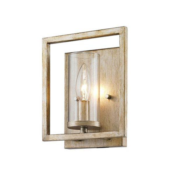 Marco White Gold One-Light Wall Sconce with Clear Glass Shade, image 4