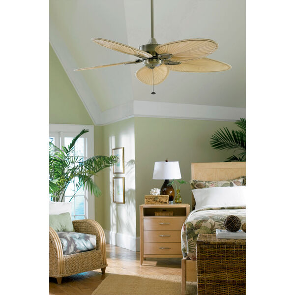 Windpointe Antique Brass Ceiling Fan with Narrow Oval Natural Palm Blades, image 6