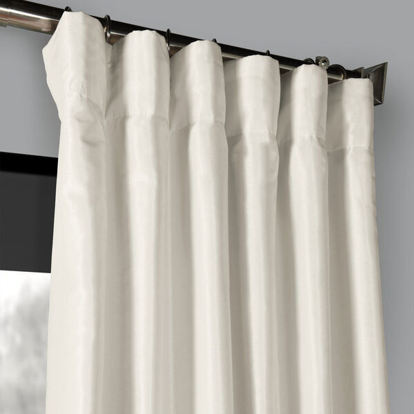 Off White 50 x 96-Inch Blackout Vintage Textured Faux Dupioni Silk Curtain, image 2