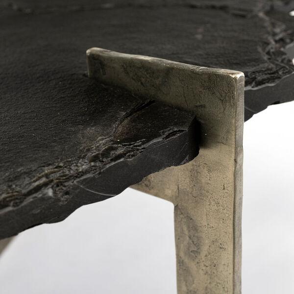 Shale II Black Irregular Live-Edge Slate Coffee Table with Flat Iron Base, image 6