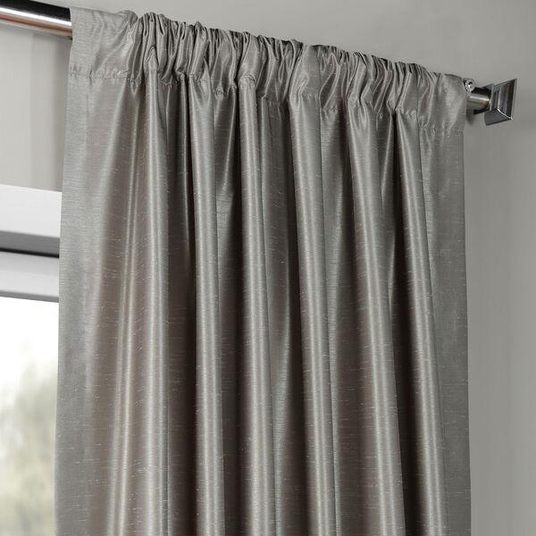 Silver Vintage Textured Faux Dupioni Silk Single Panel Curtain, 50 X 84, image 3