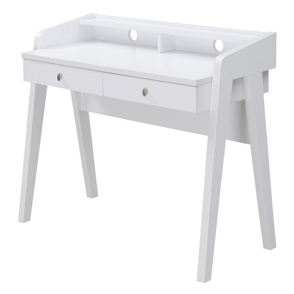 Newport White Deluxe Two-Drawer Desk, image 4
