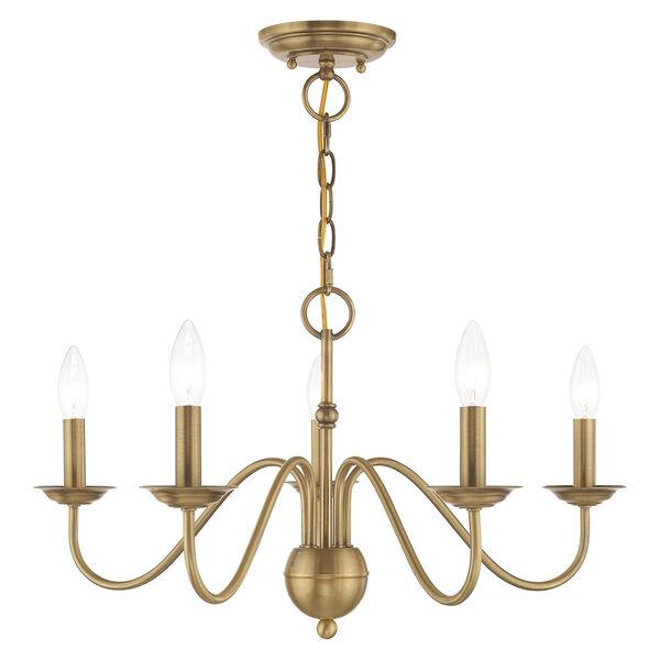 Windsor Antique Brass Five-Light Chandelier, image 1