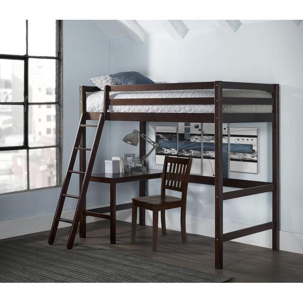 Caspian Chocolate Twin Study Loft With Chair, image 1