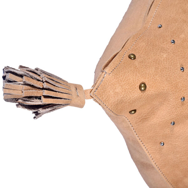 Genuine Leather Tan 20 In. X 24 In. Studded Leather Throw Pillow with Tassel, image 4