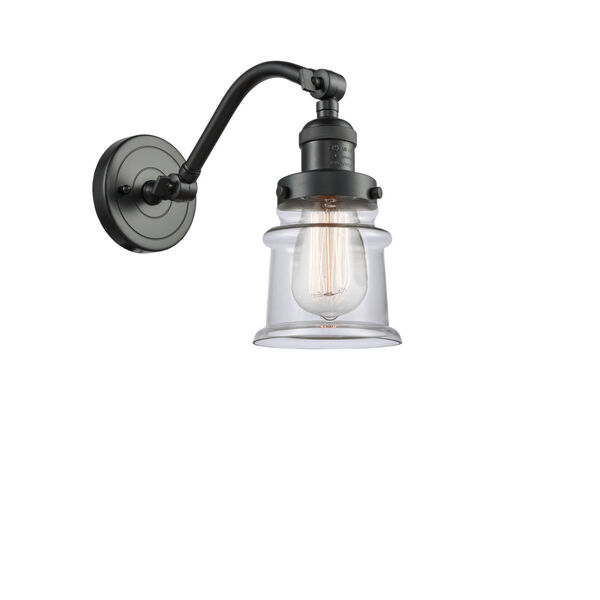 Franklin Restoration Oil Rubbed Bronze 12-Inch One-Light Wall Sconce with Small Clear Canton Shade, image 1