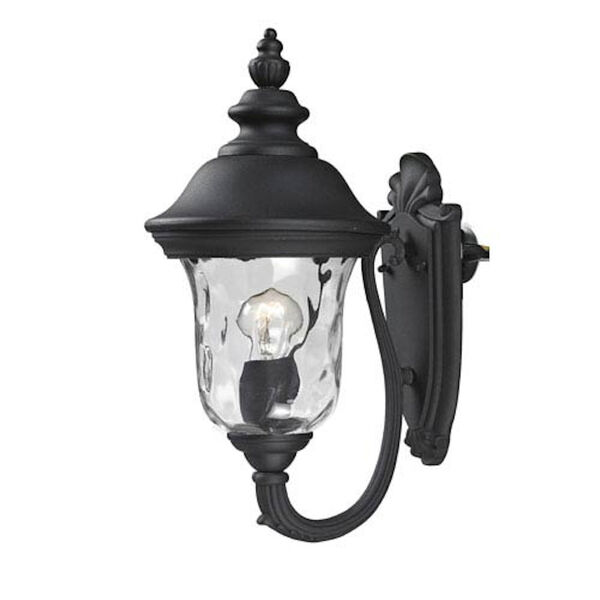 Armstrong Two-Light Black Outdoor Small Wall Lantern with Clear Waterglass, image 1