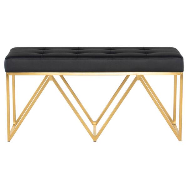 Celia Matte Black and Gold Bench, image 2