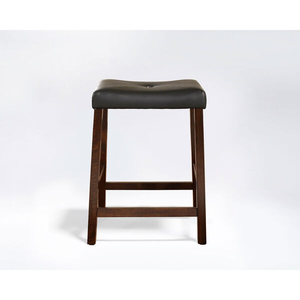 Upholstered Saddle Seat Bar Stool in Vintage Mahogany Finish with 24 Inch Seat Height- Set of Two, image 2