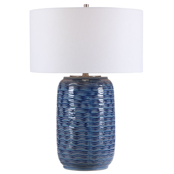 Sedna Blue and Brushed Nickel One-Light Table Lamp with Round Hardback Drum Shade, image 1