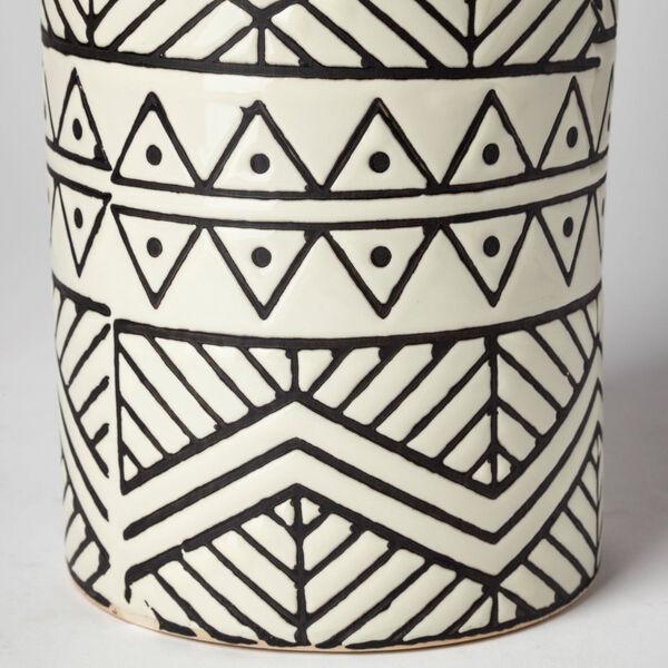 Uhura II Cream and Black Cylindrical Ceramic Vase, image 4