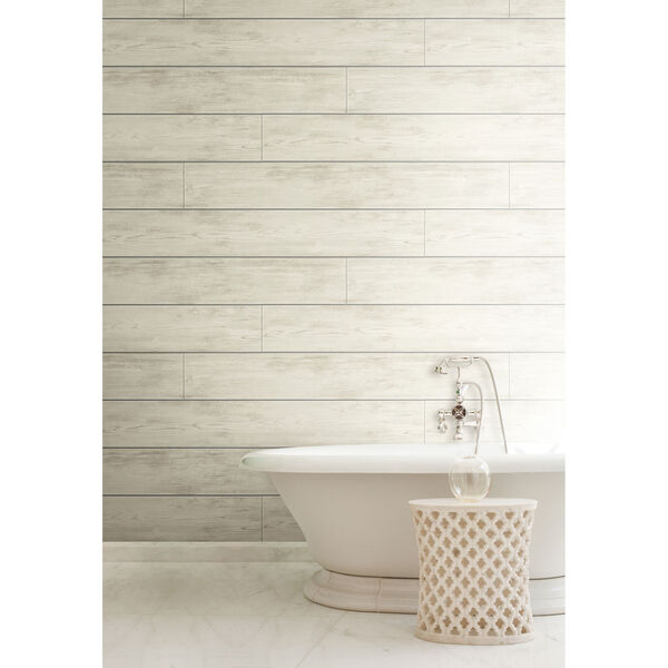 Shiplap Gray and Off White Removable Wallpaper, image 6
