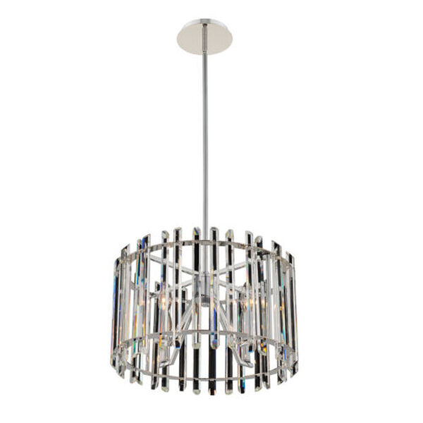 Viano Polished Chrome Four-Light Pendant with Firenze Crystal, image 1