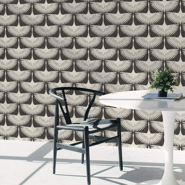 Feather Flock Storm Grey 28 Sq. Ft. Peel and Stick Wallpaper, image 4