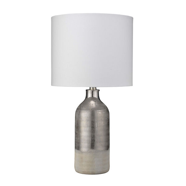 Cora Silvered Taupe and Off White One-Light Table Lamp, image 1