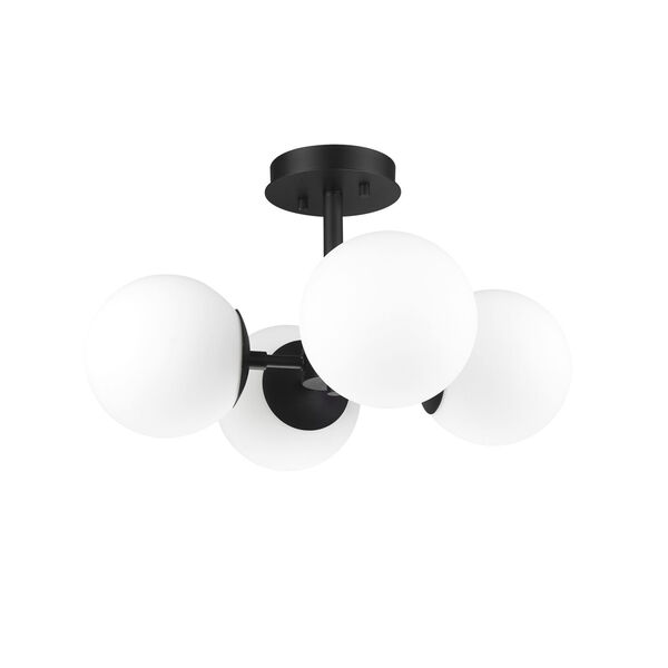 Midnetic Matte Black Four-Light Semi Flush Mount, image 6