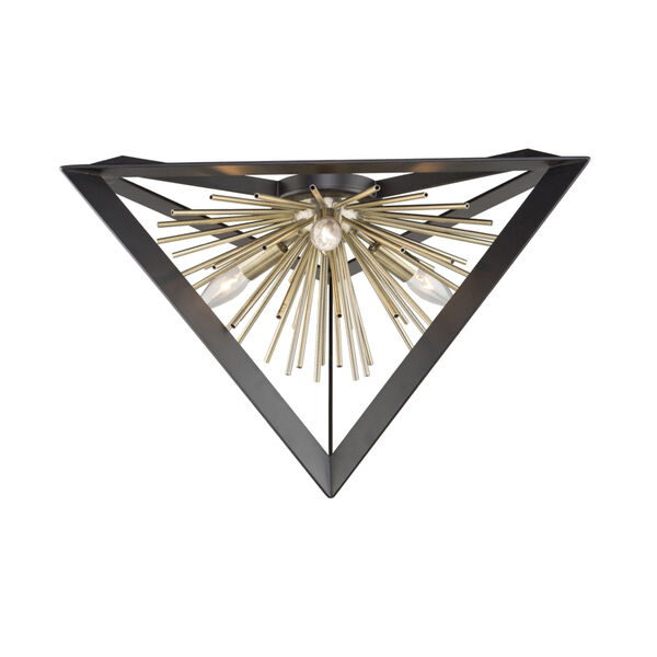Sunburst Matte Black and Satin Brass Three-Light Flush Mount, image 1