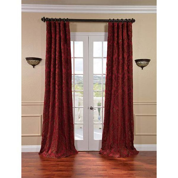 Astoria Red and Bronze Faux Silk Jacquard Single Panel Curtain, 50 X 84, image 1