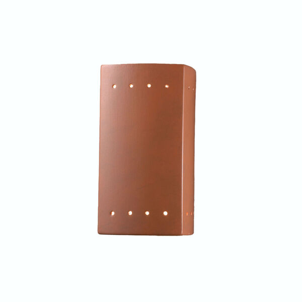 Ambiance Terra Cotta Five-Inch Closed Top and Bottom LED Rectangle Outdoor Wall Sconce, image 1