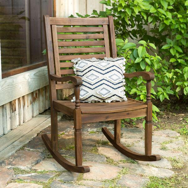 Solid Acacia Wood Rocking Patio Chair, Dark Brown, image 1