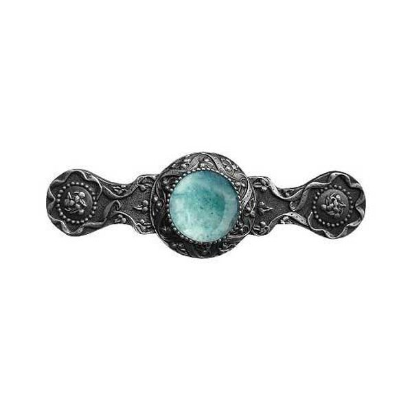 Antique Pewter Victorian Jeweled Pull with Green Aventurine Stone, image 1