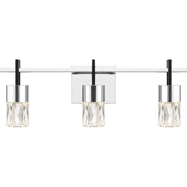 Adena Polished Chrome Three-Light LED Bath Vanity, image 1