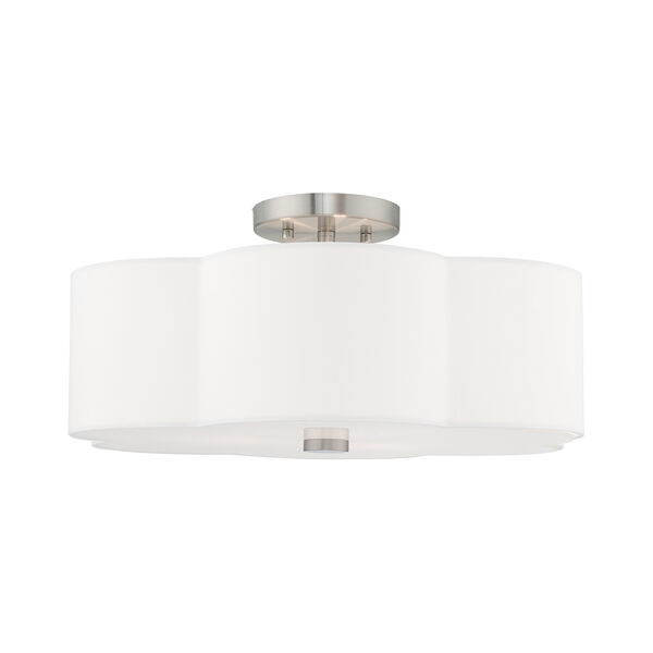 Chelsea Brushed Nickel 18-Inch Three-Light Ceiling Mount with Hand Crafted Off-White Hardback Shade, image 3