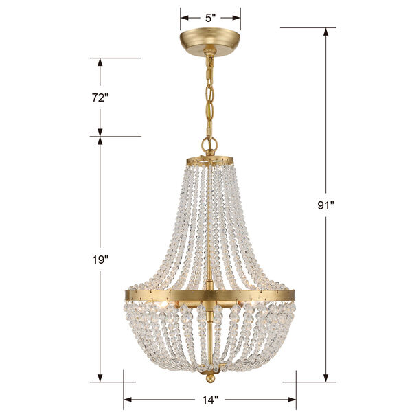 Rylee Antique Gold Three-Light Chandelier Convertible to Semi-Flush Mount, image 2