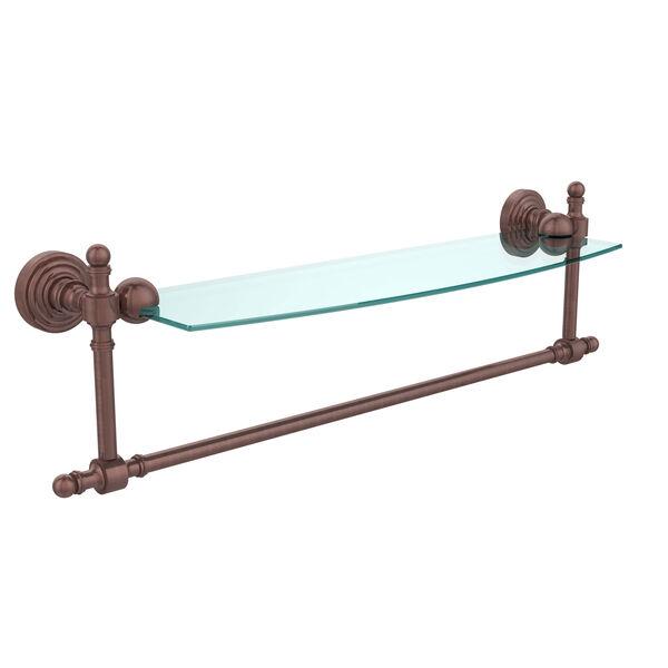 Retro Wave Antique Copper 18 Inch Glass Shelf w/ Towel Bar, image 1