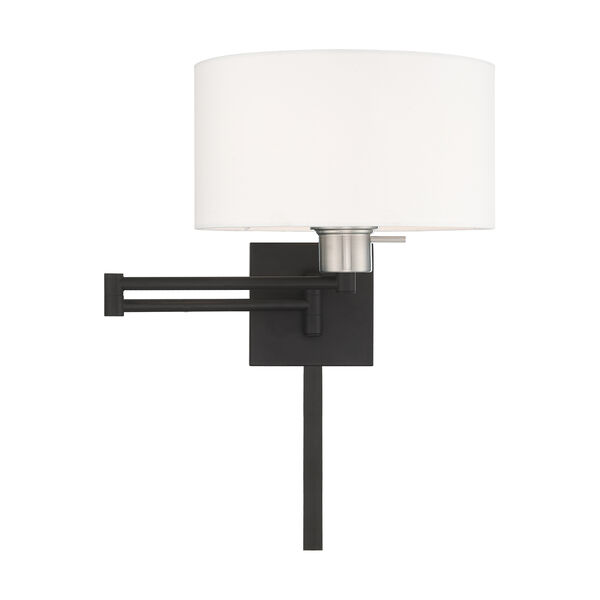 Swing Arm Wall Lamps Black 11-Inch One-Light Swing Arm Wall Lamp with Hand Crafted Off-White Hardback Shade, image 3