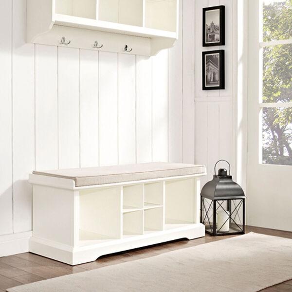 Hayden White Entryway Storage Bench, image 4
