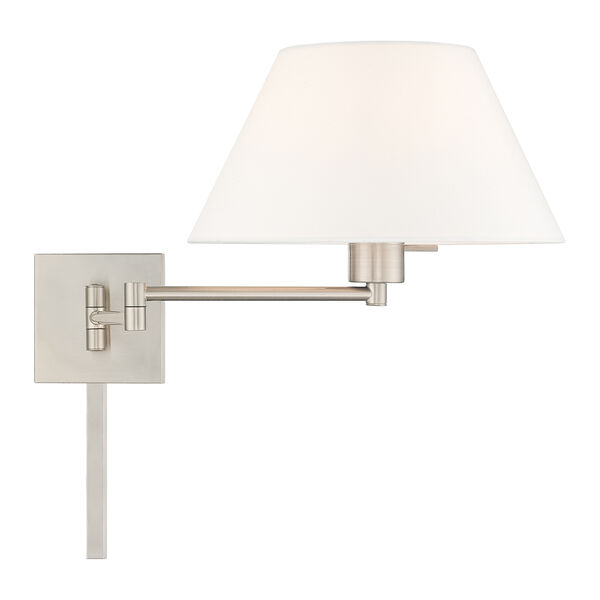 Swing Arm Wall Lamps Brushed Nickel 13-Inch One-Light Swing Arm Wall Lamp with Hand Crafted Off-White Hardback Shade, image 5