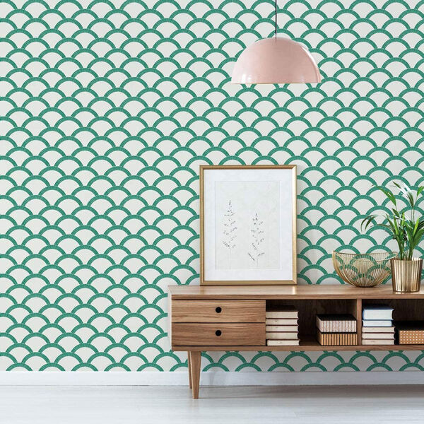 Mosaic Scallop Emerald 28 Sq. Ft. Peel and Stick Wallpaper, image 3