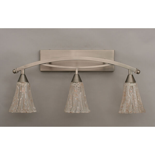 Bow Brushed Nickel Three-Light Bath Bar w/ 5.5-Inch Italian Ice Glass, image 1