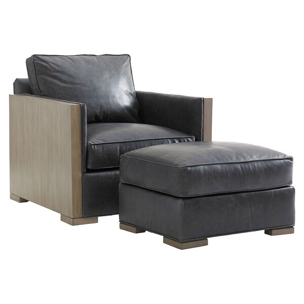 Shadow Play Black Delshire Leather Ottoman, image 3