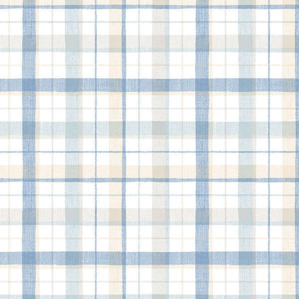 Blue and Beige Linen Plaid Wallpaper, image 1