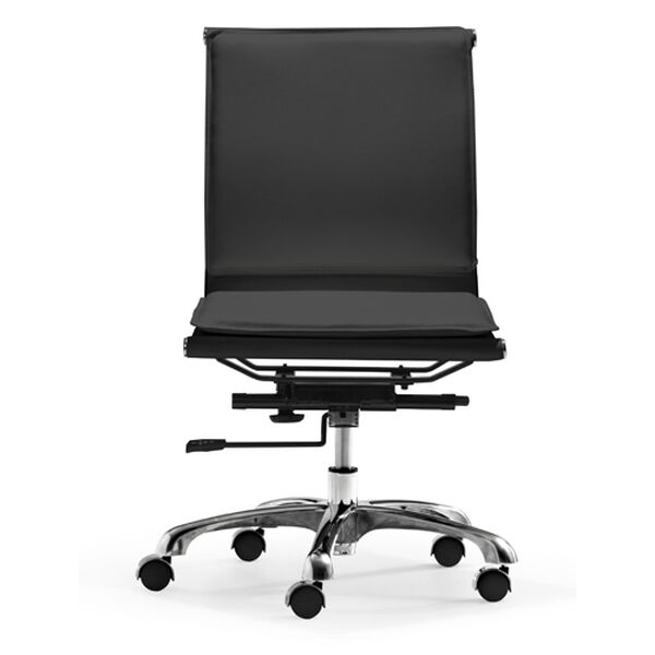 Lider Plus Black and Chromed Steel Armless Office Chair, image 3