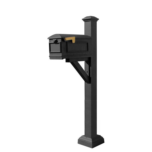 Westhaven Black Mounted Mailbox Post, image 1