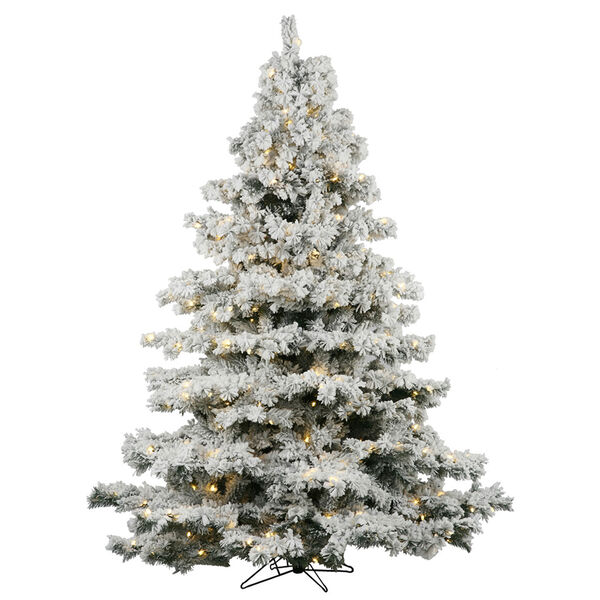 Flocked White on Green 5.5 Foot LED Alaskan Tree with 450 Warm White Lights, image 1