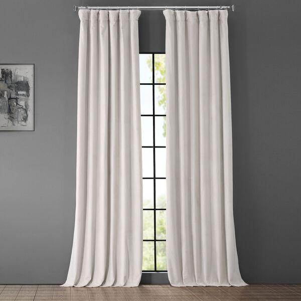 Porcelain White Blackout Velvet Pole Pocket Single Panel Curtain, 50 X 108, image 1