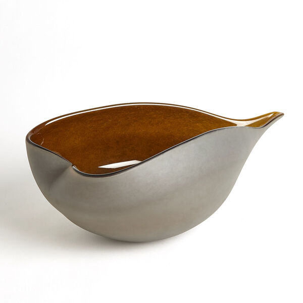 Frosted Gray and Amber 10-Inch Decorative Bowl, image 1