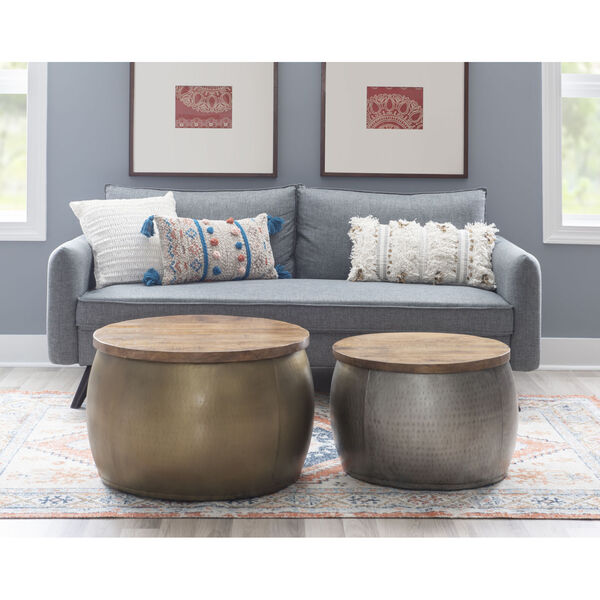 Leah Gold Large Storage Drum with Wooden Lid, image 5