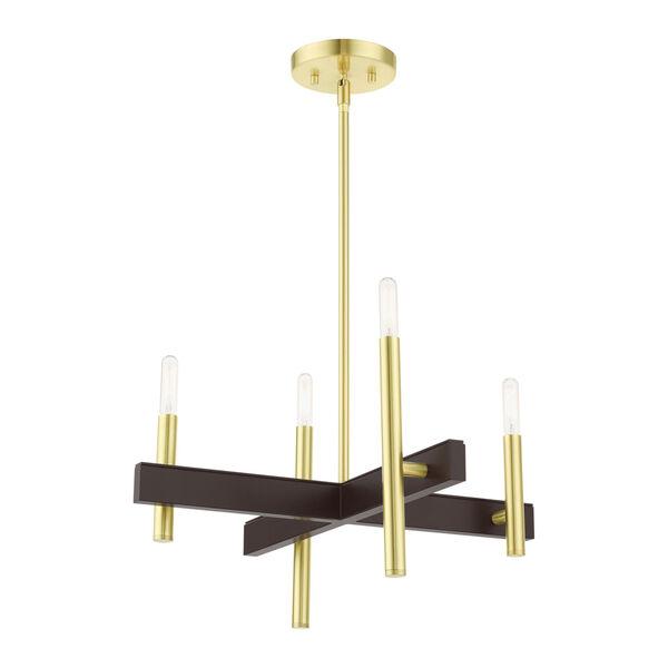 Denmark Satin Brass Four-Light Chandelier, image 4