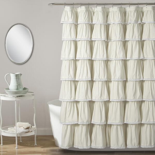 Lace Ruffle Ivory 72 In. Shower Curtain, image 1