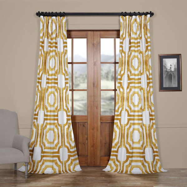 Yellow Gold 84 x 50 In. Printed Cotton Twill Curtain Single Panel, image 1