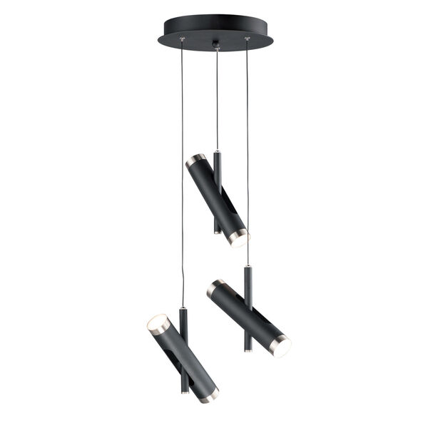Ambit Black and Satin Nickel Six-Light LED Pendant, image 1