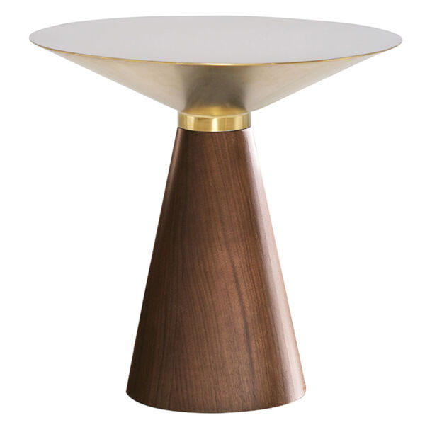 Iris Gold and Walnut Round Side Table, image 1