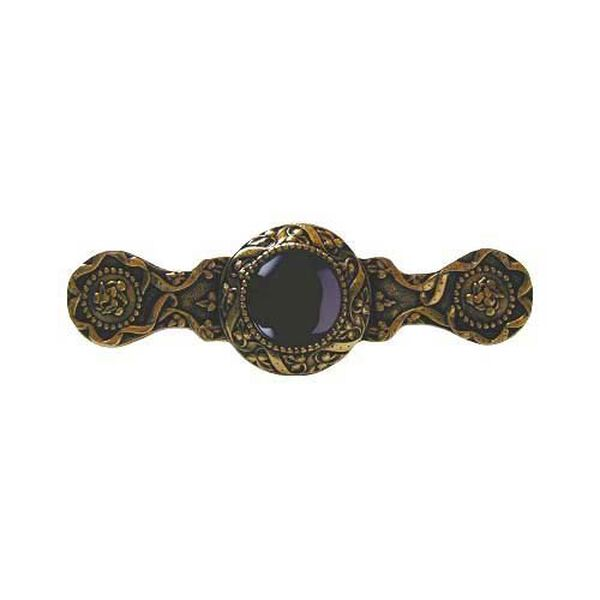 24 K Gold Victorian Jewel Onyx Pull, image 1